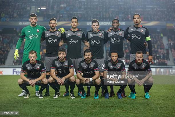 Players of Southampton pose before the UEFA Europa League match between AC Sparta Praha and Southampton FC at Generali Arena Stadium on November 24...