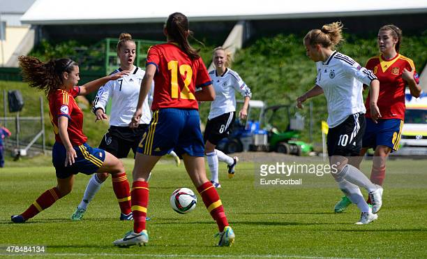 Players of Spain and Germany in action during the UEFA European Women's Under17 Championship match between U17 Germany and U17 Spain at...