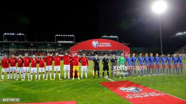 Players of Spain and Liechterstein are seen during the FIFA 2018 World Cup Qualifier between Liechtenstein and Spain at Rheinpark Stadion on...