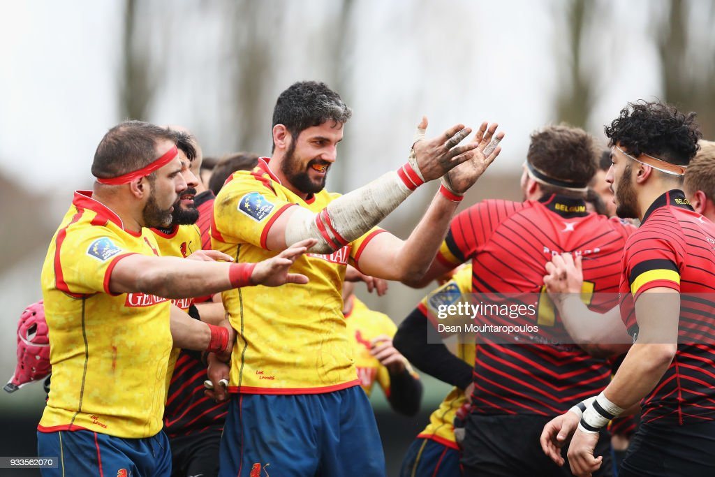 Players of Spain and of Belgium confront each other after the Rugby World Cup 2019 Europe Qualifier match between Belgium and Spain held at Little Heysel next to King Baudouin Stadium on March 18, 2018 in Brussels, Belgium.