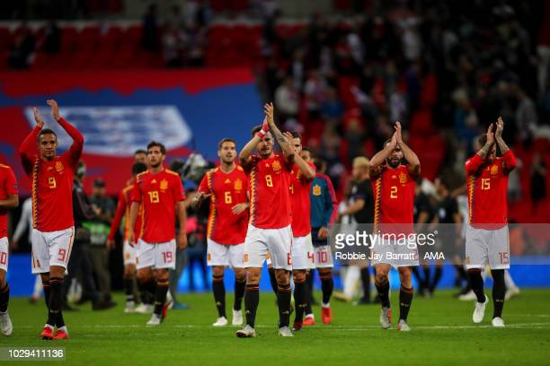 Players of Spain applaud the fans at full time during the UEFA Nations League A group four match between England and Spain at Wembley Stadium on...