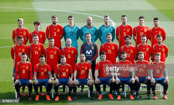 Players of Spain attend the presentation of the 2018 FIFA World Cup Russia Adidas jersey on November 8 2017 in Madrid Spain