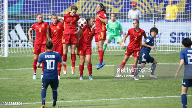 Players of Spain block a freekick from Fuka Nagano of Japan during the FIFA U20 Women's World Cup France 2018 group C match between Spain and Japan...