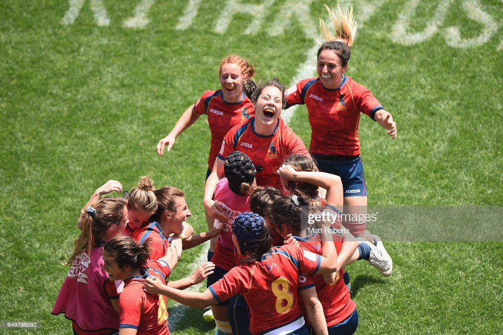 Players of Spain celebrate after defeating England in the Quarter-final match on day two of the HSBC Women's Rugby Sevens Kitakyushu Cup at Mikuni World Stadium Kitakyushu on April 22, 2018 in Kitakyushu, Fukuoka, Japan.