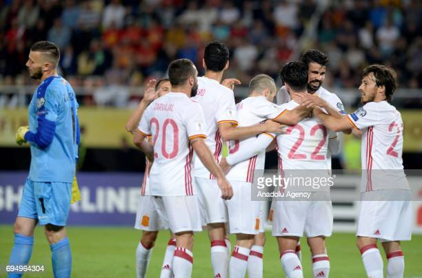 Players of Spain celebrate after scoring during the FIFA 2018 World Cup Qualifiers Group G match between Macedonia and Spain at Philip II Arena in...