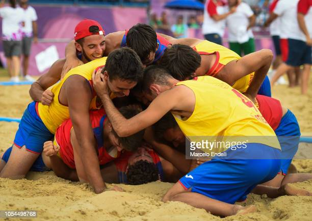 Players of Spain celebrate after winning the Gold Medal against Portugal in the Men Gold Medal Match during day 7 of Buenos Aires 2018 Youth Olympic...