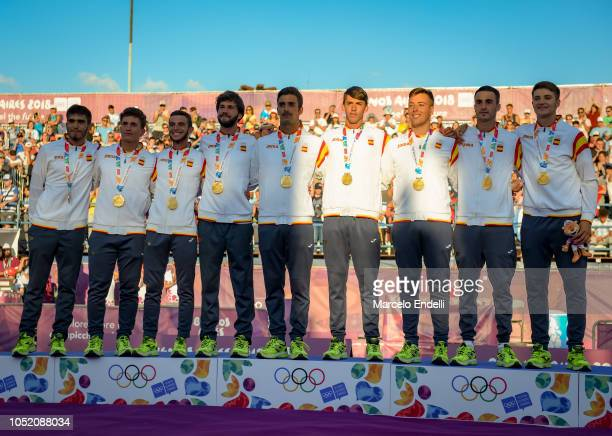 Players of Spain celebrate in podium after winning the Gold medal during day 7 of Buenos Aires 2018 Youth Olympic Games at Green Park on October 13...