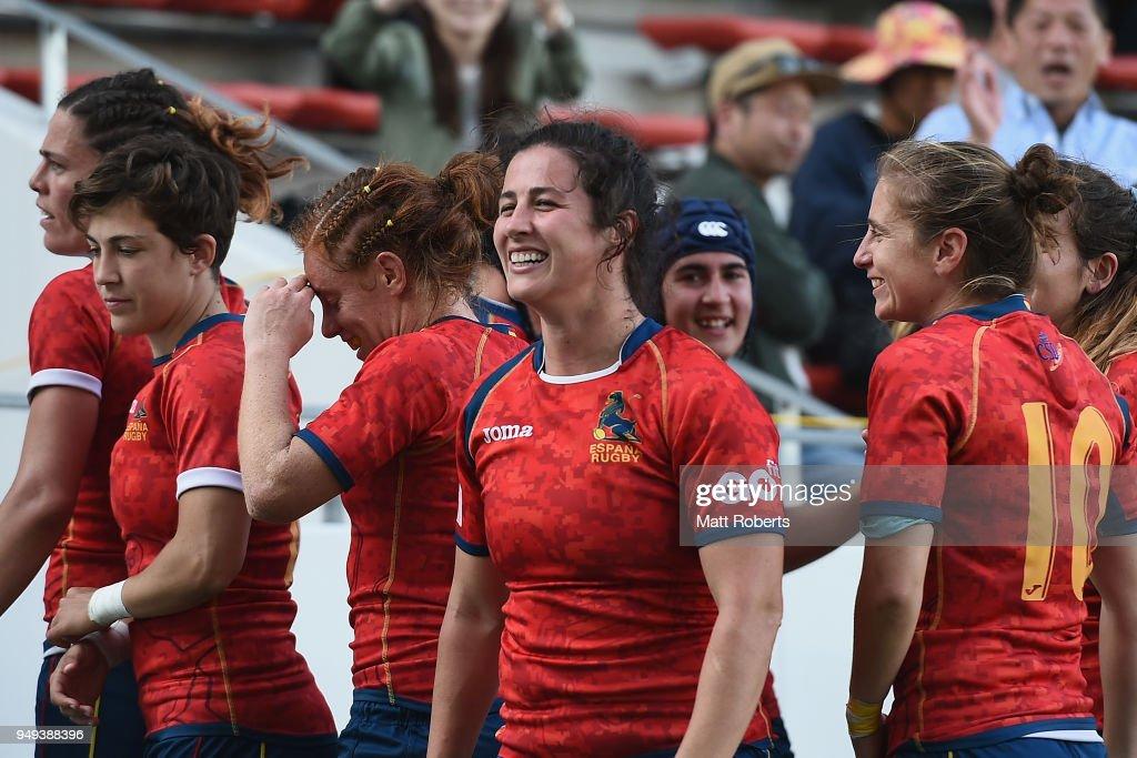 Players of Spain celebrate on day one of the HSBC Women's Rugby Sevens Kitakyushu Pool match between Australia and Spain at Mikuni World Stadium Kitakyushu on April 21, 2018 in Kitakyushu, Fukuoka, Japan.