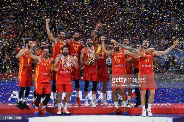 Players of Spain celebrate on the podium after FIBA World Cup 2019 final match between Argentina and Spain at Cadillac Arena on September 15 2019 in...