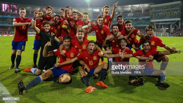 Players of Spain celebrate the victory after the FIFA U17 World Cup India 2017 Semi Final match between Mali and Spain at Dr DY Patil Cricket Stadium...