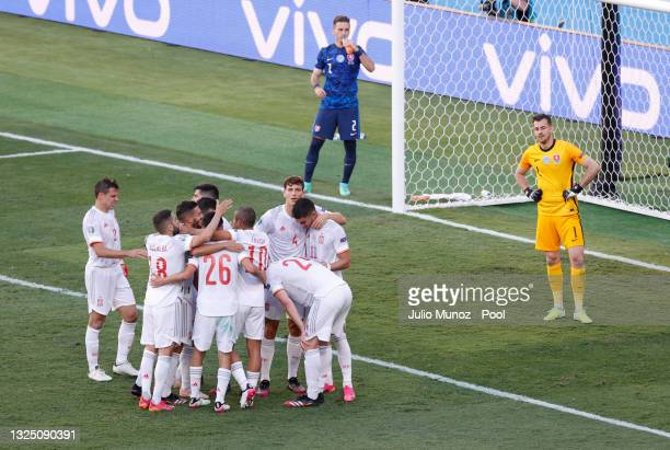 Players of Spain celebrate their side's fifth goal, an own goal by Juraj Kucka of Slovakia during the UEFA Euro 2020 Championship Group E match...