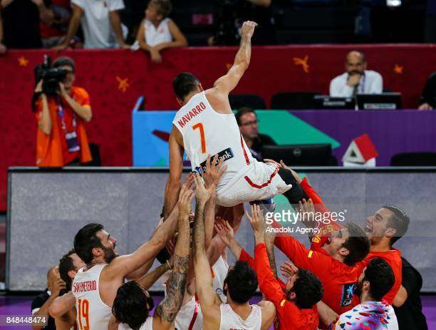Players of Spain celebrate their teams' victory after the FIBA Eurobasket 2017 semi final basketball match between Spain and Russia at Sinan Erdem...