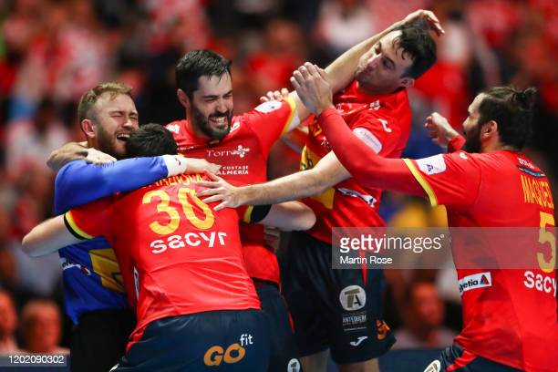 Players of Spain celebrate winning the Men's EHF EURO 2020 final match between Spain and Croatia at Tele2 Arena on January 26 2020 in Stockholm Sweden