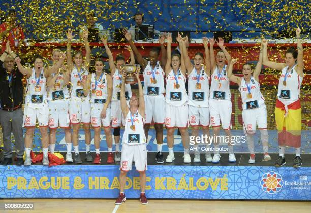 Players of Spain celebrate with the trophy during the winner's ceremony after winning the FIBA EuroBasket 2017 women's final match between Spain and...