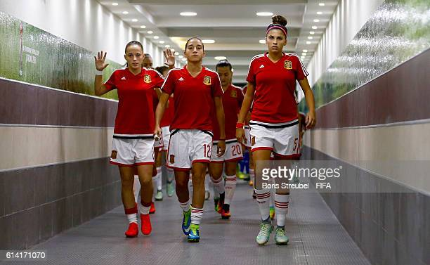 Players of Spain enter the pitch for warmup prior to the FIFA U17 Women's World Cup Quarter Final match between Germany and Spain at Amman...