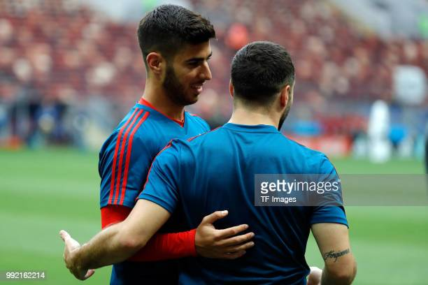 Players of Spain gesture during a training session on June 30 2018 in Moscow Russia