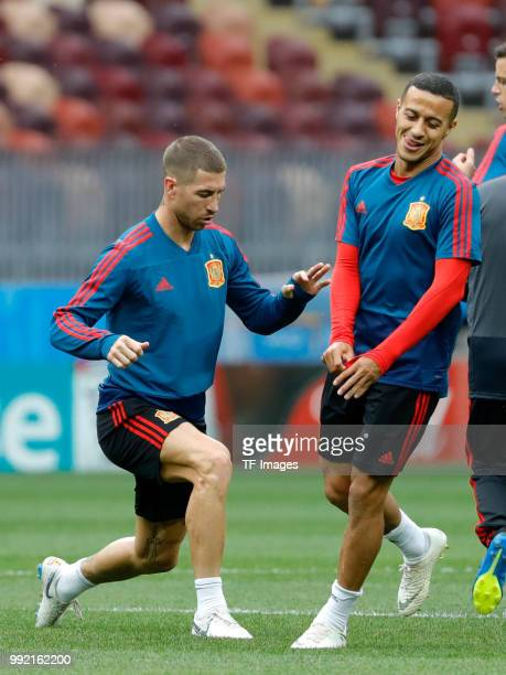 Players of Spain in action during a training session on June 30 2018 in Moscow Russia