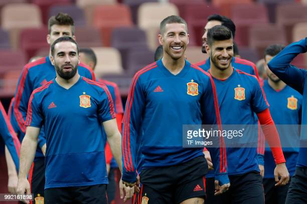 Players of Spain laugh during a training session on June 30 2018 in Moscow Russia