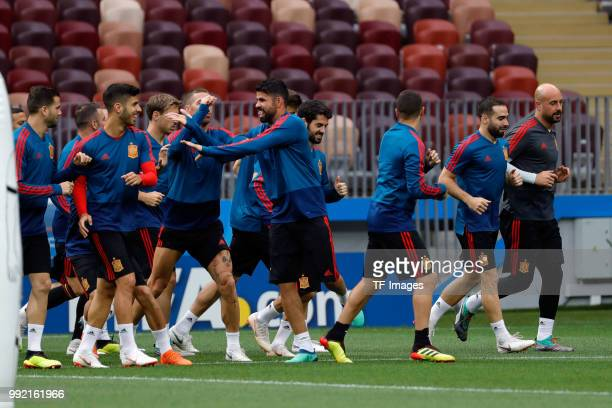 Players of Spain look on during a training session on June 30 2018 in Moscow Russia