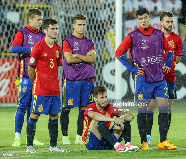 Players of Spain looks dejected after the UEFA U21 Final match between Germany and Spain at Krakow Stadium on June 30 2017 in Krakow Poland