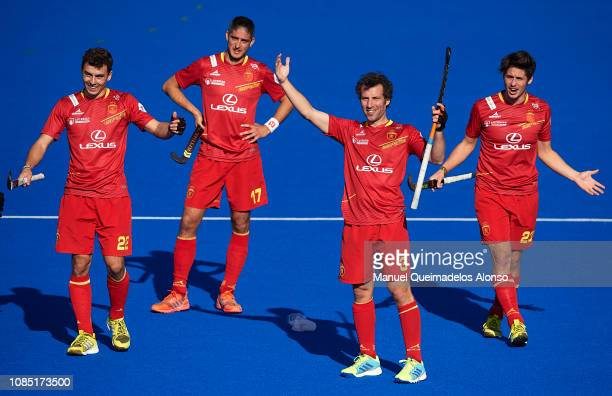 Players of Spain reacts during the Men's FIH Field Hockey Pro League match between Spain and Belgium at Polideportivo Virgel del CarmenBetero on...