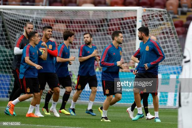 Players of Spain run during a training session on June 30 2018 in Moscow Russia