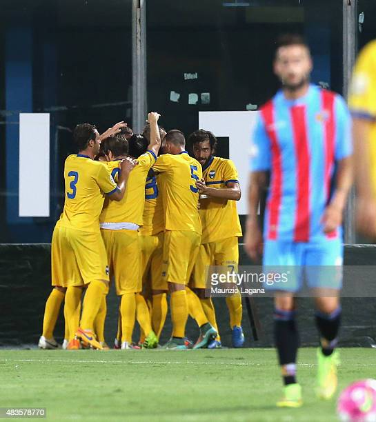 Players of Spal celebrate the opening goal during the TIM Cup match between Calcio Catania and Spal at Stadio Angelo Massimino on August 10, 2015 in...
