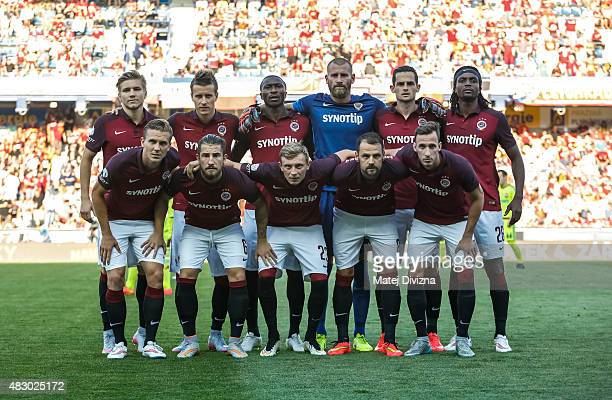 Players of Sparta Prague pose before the UEFA Champions League Third Qualifying Round 2nd Leg match between Sparta Prague and CSKA Moscow August 5...