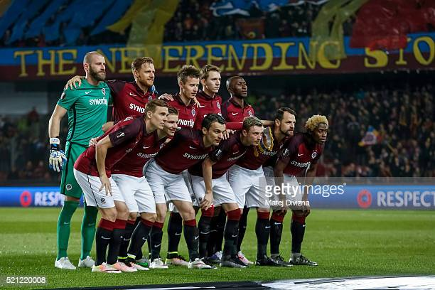 Players of Sparta Prague pose for photographers before the UEFA Europa League Quarter Final second leg match between Sparta Prague and Villareal CF...