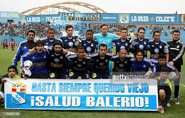Players of Sporting Cristal pose before a match between Sporting Cristal and UTC as part of the Torneo Descentralizado 2013 at Alberto Gallardo...