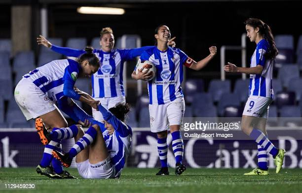 Players of Sporting Huelva celebrating the victory at the end of the Liga Iberdrola match at Mini Estadi on February 13 2019 in Barcelona Spain