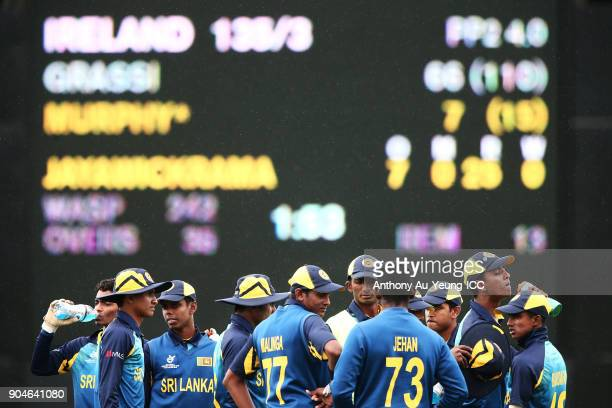 Players of Sri Lanka take a breather at the drinks break during the ICC U19 Cricket World Cup match between Sri Lanka and Ireland at Cobham Oval on...