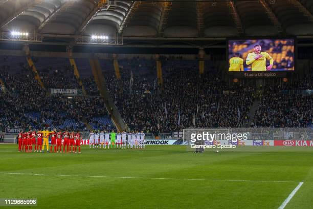 Players of SS Lazio and Sevilla observe a minute's silence in memory of Emiliano Sala before the UEFA Europa League Round of 32 First Leg match...