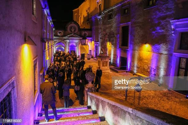 Players of SS Lazio arrive at Castel Sant'Angelo to attend the celebrations for the 120th Anniversary of the SS Lazio on January 8 2020 in Rome Italy