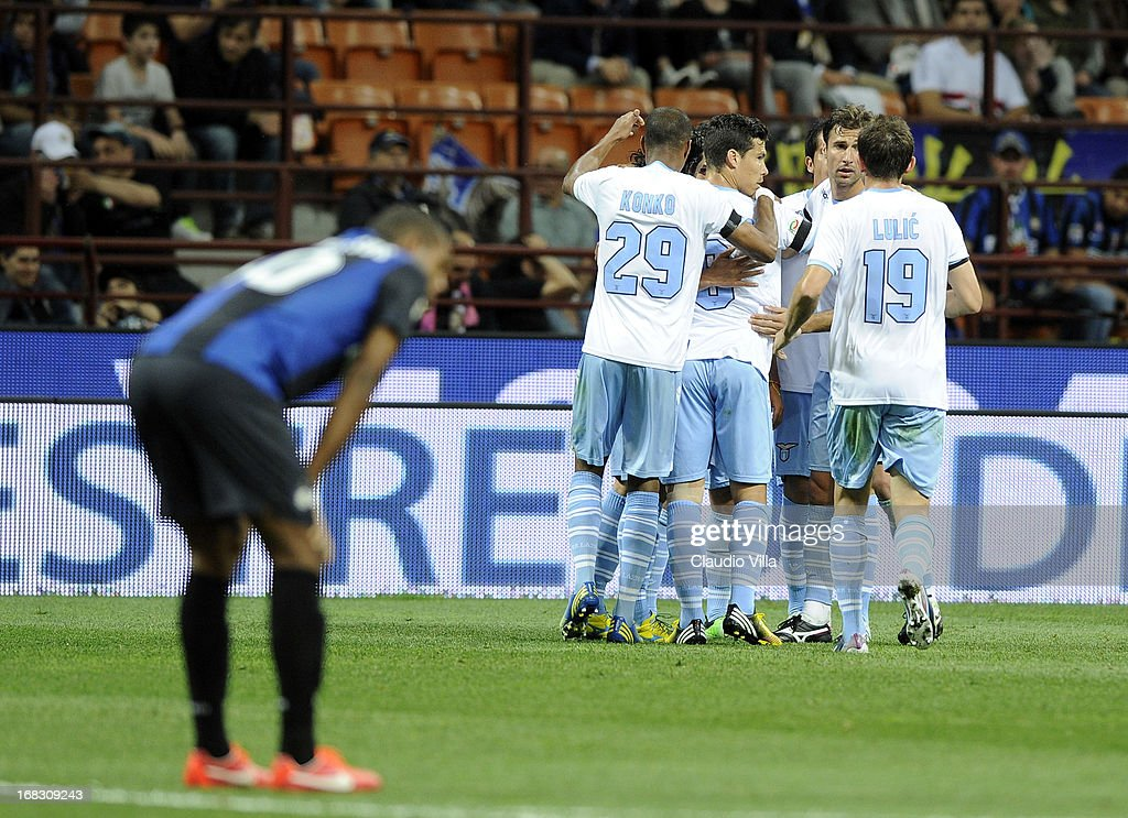 Players of S.S. Lazio celebrate scoring the first goal during the Serie A match between FC Internazionale Milano and S.S. Lazio at San Siro Stadium on May 8, 2013 in Milan, Italy.