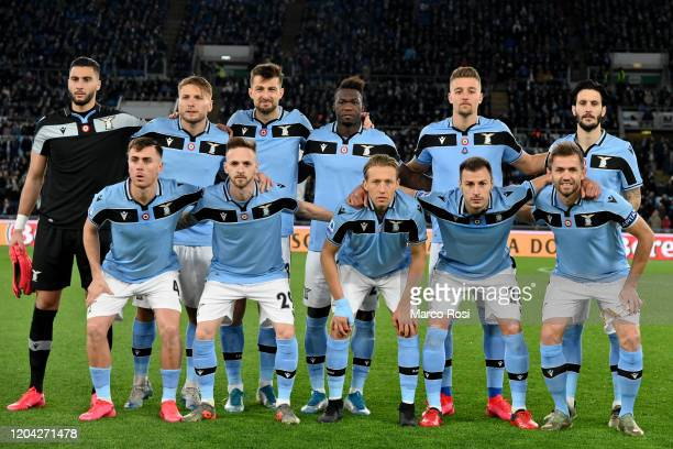 Players of SS Lazio pose for the team photo before during the Serie A match between SS Lazio and Hellas Verona at Stadio Olimpico on February 05 2020...