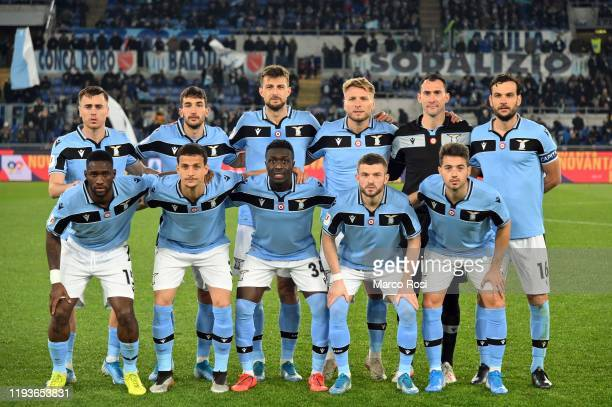 Players of SS Lazio pose for the team photo during the Coppa Italia match between SS Lazio and US Cremonese at Olimpico Stadium on January 14 2020 in...