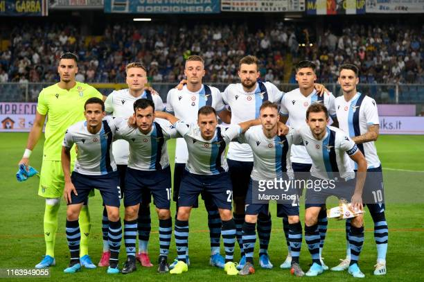 Players of SS Lazio pose for the team photo during the Serie A match between UC Sampdoria and SS Lazio at Stadio Luigi Ferraris on August 25 2019 in...