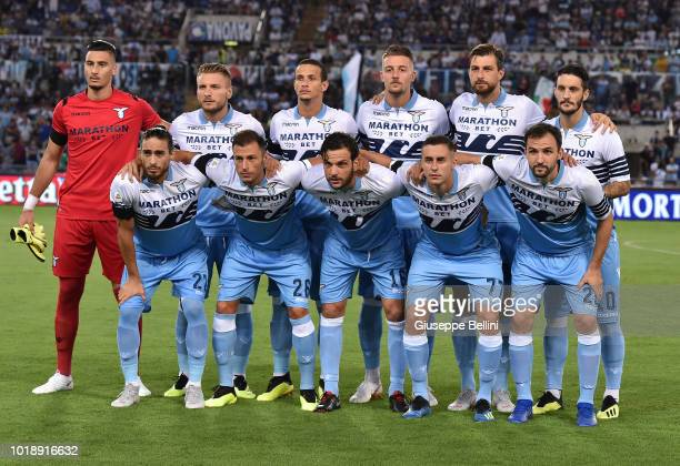 Players of SS Lazio pose for the team photo prior to the serie A match between SS Lazio and SSC Napoli at Stadio Olimpico on August 18 2018 in Rome...