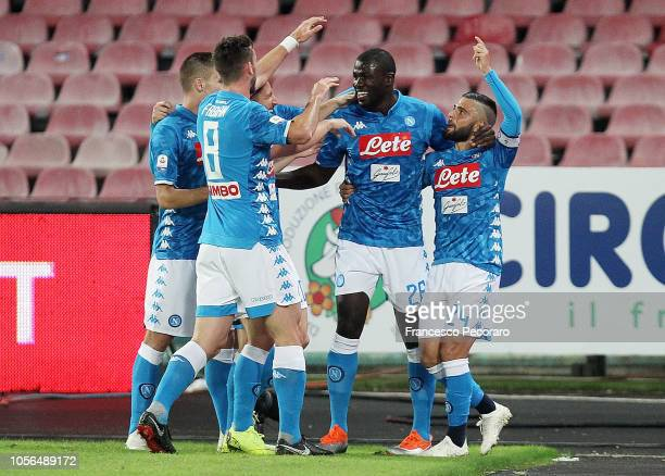 Players of SSC Napoli celebrate the 10 goal scored by Lorenzo Insigne during the Serie A match between SSC Napoli and Empoli at Stadio San Paolo on...
