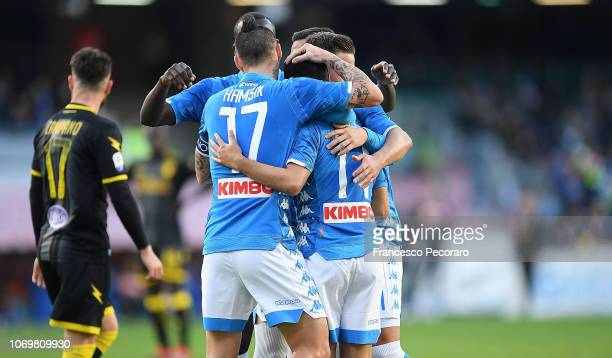 Players of SSC Napoli celebrate the 20 goal scored by Adam Ounas during the Serie A match between SSC Napoli and Frosinone Calcio at Stadio San Paolo...