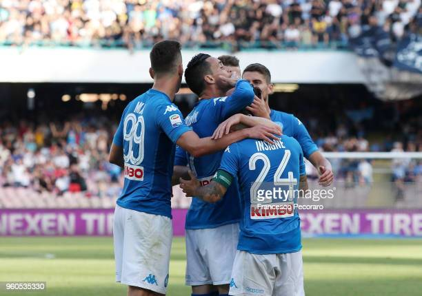 Players of SSC Napoli celebrate the 20 goal scored by Jose Callejon during the Serie A match between SSC Napoli and FC Crotone at Stadio San Paolo on...