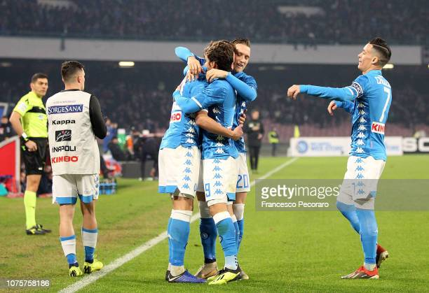 Players of SSC Napoli celebrate the 21 goal scored by Arkadiusz Milik during the Serie A match between SSC Napoli and Bologna FC at Stadio San Paolo...