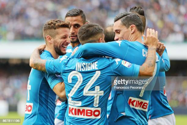 Players of SSC Napoli celebrate the 21 goal scored by Lorenzo Insigne during the Serie A match between SSC Napoli and US Sassuolo at Stadio San Paolo...