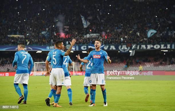 Players of SSC Napoli celebrate the 22 goal scored by Jorginho during the UEFA Champions League group F match between SSC Napoli and Manchester City...