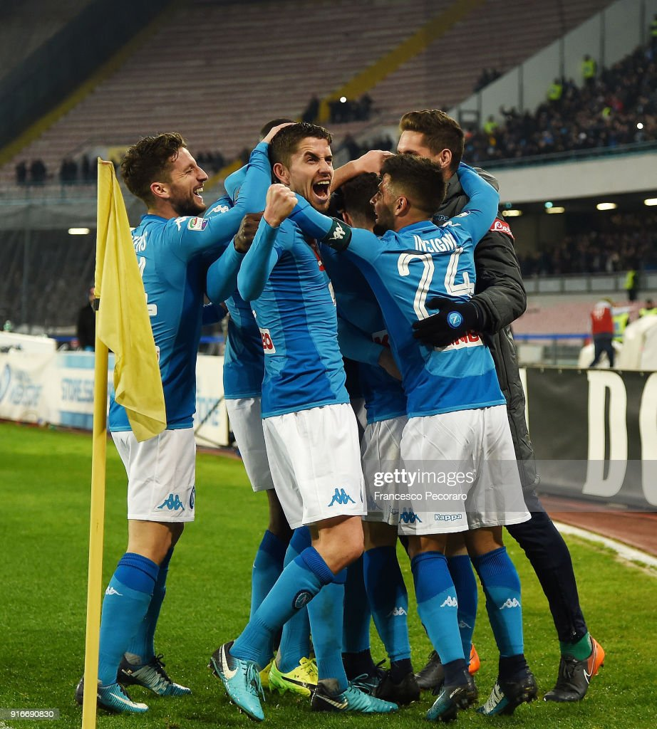 Players of SSC Napoli celebrate the 3-1 goal scored by Piotr Zielinski during the serie A match between SSC Napoli and SS Lazio at Stadio San Paolo on February 10, 2018 in Naples, Italy.