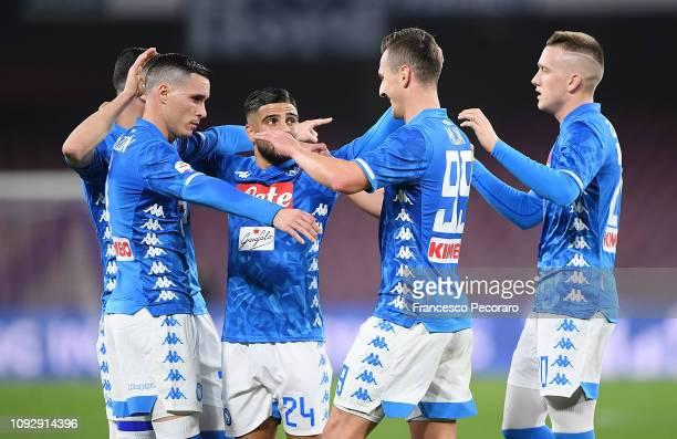 Players of SSC Napoli celebrate the goal scored by Arkadiusz Milik during the Serie A match between SSC Napoli and UC Sampdoria at Stadio San Paolo...