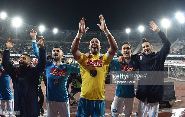 Players of SSC Napoli celebrate the victory after the Serie A match between SSC Napoli and US Sassuolo Calcio at Stadio San Paolo on January 16 2016...