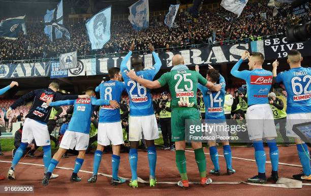 Players of SSC Napoli celebrate the victory after the serie A match between SSC Napoli and SS Lazio at Stadio San Paolo on February 10 2018 in Naples...