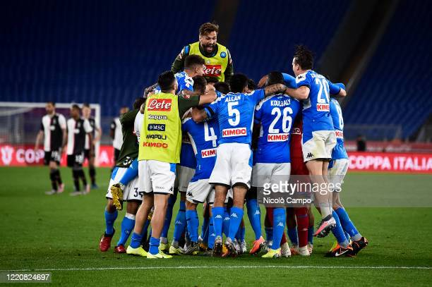 Players of SSC Napoli celebrate the victory at the end of the Coppa Italia final football match between SSC Napoli and Juventus FC SSC Napoli won 42...